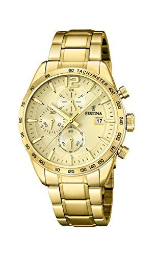 Festina Unisex Erwachsene Chronograph Quarz Uhr mit Edelstahl Armband F20266/1