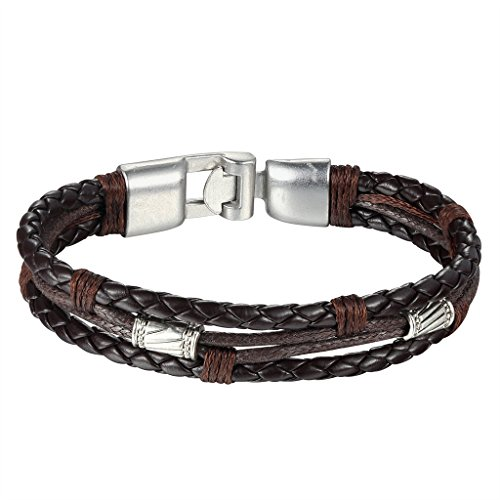 Aienid Leder Armband Herren Edelstahl Kletterseil Design Schwarz Braun Länge 21.7CM