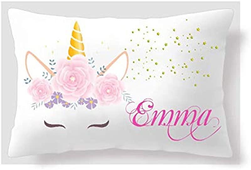 BlueVStudio Personalized Pink Flower Unicorn Pillow Case Unicorn Pillow Cover Pillow Case For Girls