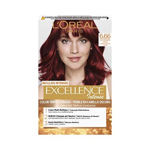 L'Oréal Paris Excellence Intense Coloración, Tono: 6,66 Rojo Escarlata...