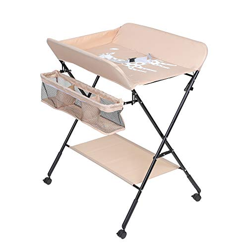 Baby Changing Table, Foldable Infant Care Station with Wheels, Mobile Newborn Massage Table Space-Saving Dresser Diaper Organizer (Khaki)