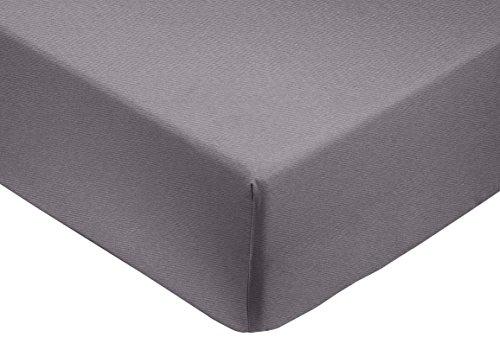 Amazon Basics Spannbetttuch, Baumwoll, Satin Fadenzahl 400, knitterarm, 180 x 200 x 30 cm - Dunkelgrau