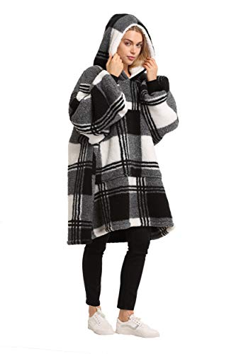 Oversized Hoodie Blanket Sweatshirt,Super Soft Warm Comfortable Sherpa Giant Pullover with Large Front Pocket,for Adults Men Women Teenagers Kids Wife Girlfriend,Plaid Black