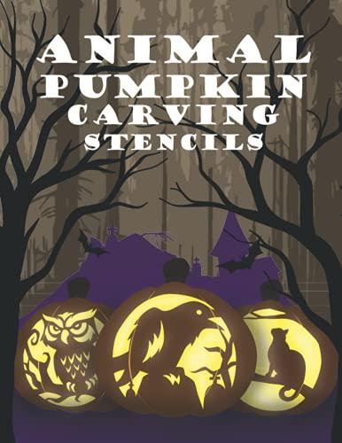 Plantillas para tallar calabaza animal: patrones de miedo para pintar y tallar calabazas | Decoración de Halloween espeluznante y divertida | Plantillas de animales