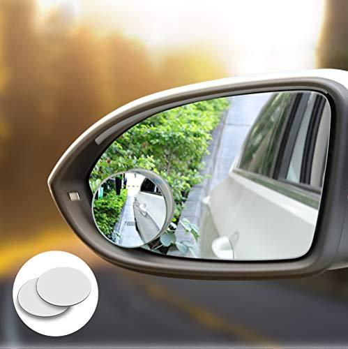 Ontto HD auto dodehoek spiegel randloos instelbare autospiegel ronde dode hoek zijkant achteruitkijkspiegel blindspiegel motorfiets groothoekspiegel 360 graden verstelbaar voor alle autospiegels -2 stuks