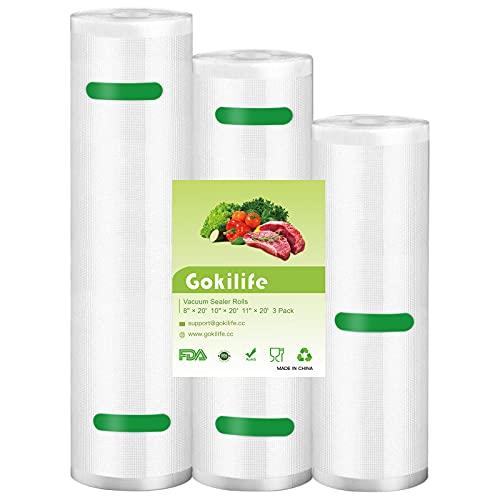 Gokilife - Bolsas de envasado al vacío, 3 rollos, para Sous Vide 20 x 600 cm, 25 x 600 cm, 28 x 600 cm, sin BPA, reutilizables, para todas las envasadoras al vacío