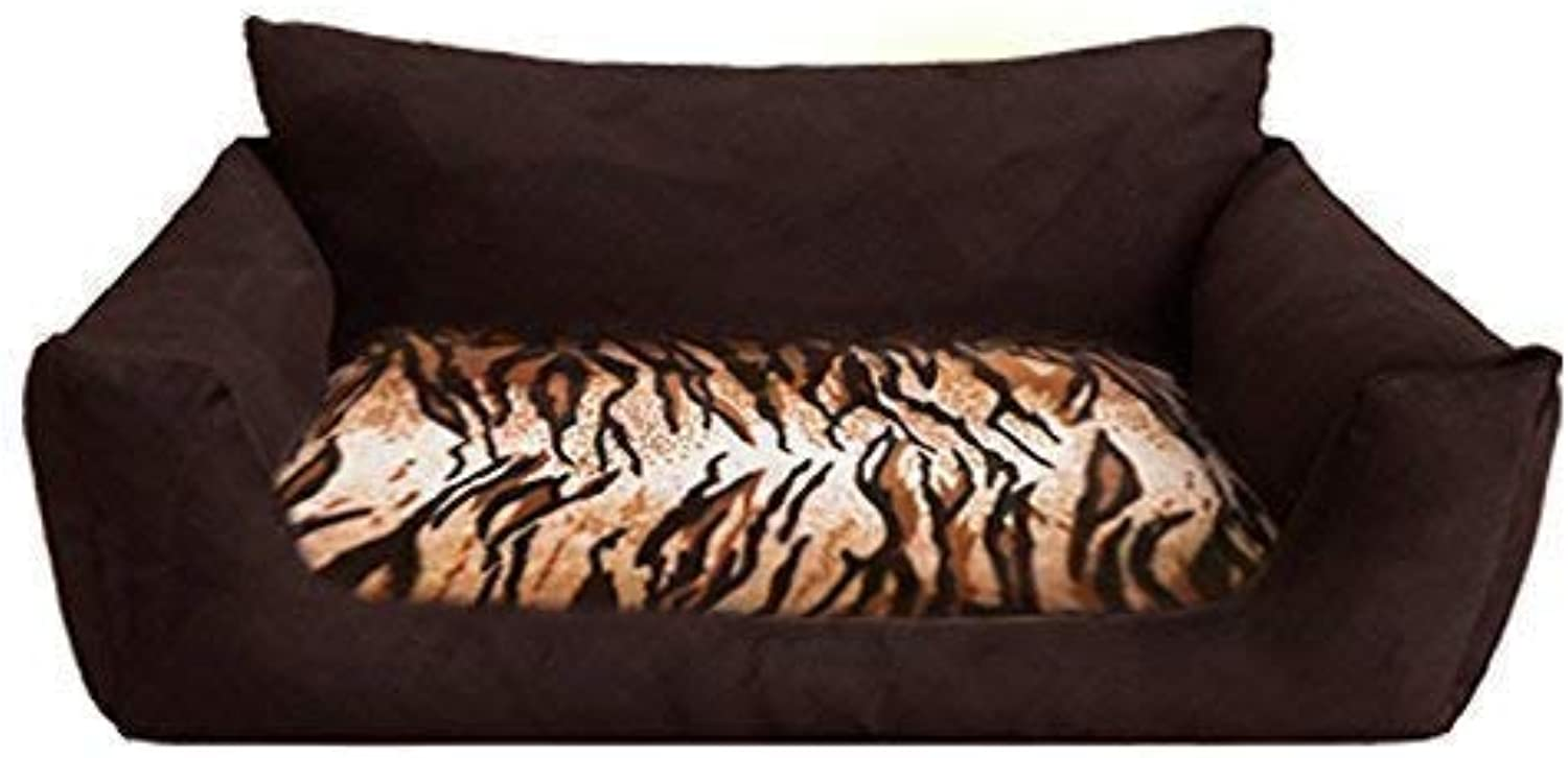 T3c102 Dog Bed Tarzan Made of Solid Codura and Stuted Dog Sofa Dog Basket Size L 100cm Brown Tiger