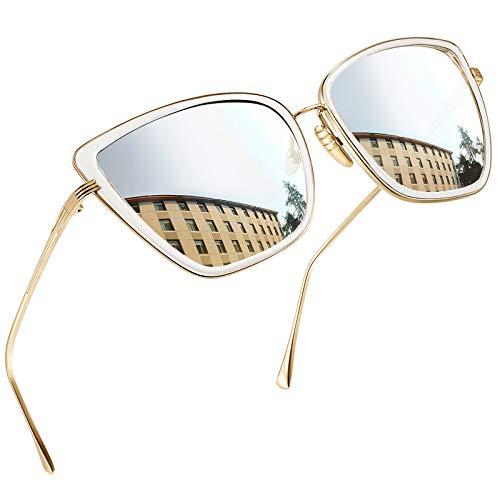 Joopin Gafas de Sol Mujer Ojo de Gato Retro UV400 Gafas Polarizadas de Moda Cateye Estilo Vintage para Mujeres de Gran Tamaño Plata