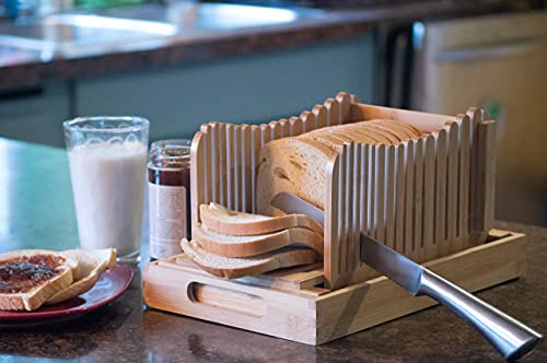 Eco friendly Bamboo Bread Slicer Guide for homemade bread - includes Stainless Steel Serrated Bread knife, Crumb Catcher, Serving tray and Foldable...