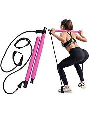 GrandEver Draagbare Pilates Bar Kit met weerstandsband,Yoga Pilates Stick Yoga Oefening Bar met voetlus voor Full Body Workout, gemakkelijk te gebruiken.