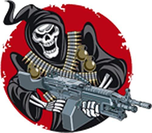 Creepy Trigger Happy Grim Reaper with Machine Gun Cartoon Vinyl Sticker (2' Tall)