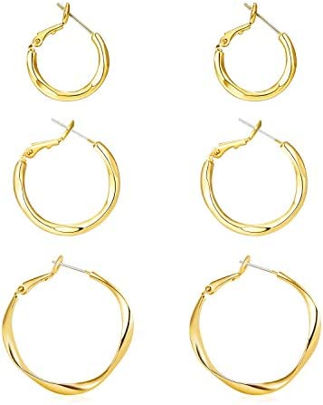 LANE WOODS 14k Gold Plated Hoop Earrings Set for Women 3 Pairs Helix Hoop Earring 925 Sterling product image