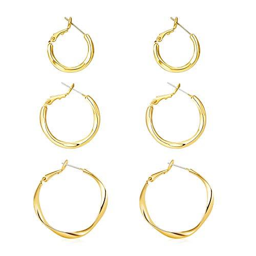 LANE WOODS 14k Gold Plated Hoop Earrings Set for Women 3 Pairs, Helix Hoop Earring 925 Sterling Silver Column Hypoallergenic Classic Minimalist Womens Girls Hoop Earrings 20/25 /35mm