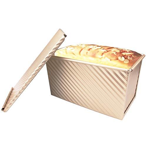 Moule à Pain Antiadhésif, Tiberham Moule à Gâteau en Acier au Carbone avec Couvercle Coulissant, Démoulage Rapide et Parfait, Trous Ventilés pour Excellente Conductivité Thermique (Style Ondulé)