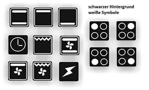 Generisch EIN Set mit 13 Stück Herd Aufkleber E Herd Beschriftung Ofen Koch Schalter Zeichen Symbole (R29/1/2) (20x20mm)