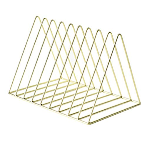 Bookcases Bookshelf Estantería de Escritorio de Metal Triángulo Estantería Simple Libros Estante de Almacenamiento en casa de periódico Librerías Estantería (Color : Gold)