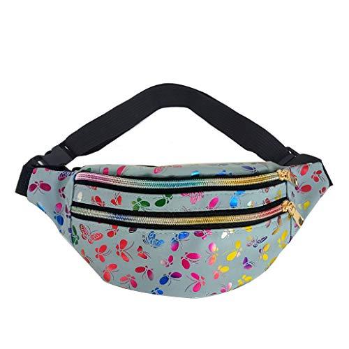PING Moda Mujer Impreso Cintura Fanny Pack Bolsa de Cinturón Bolsa de Viaje Hip Bum Bolsas de Hombro Bolso, Bl,