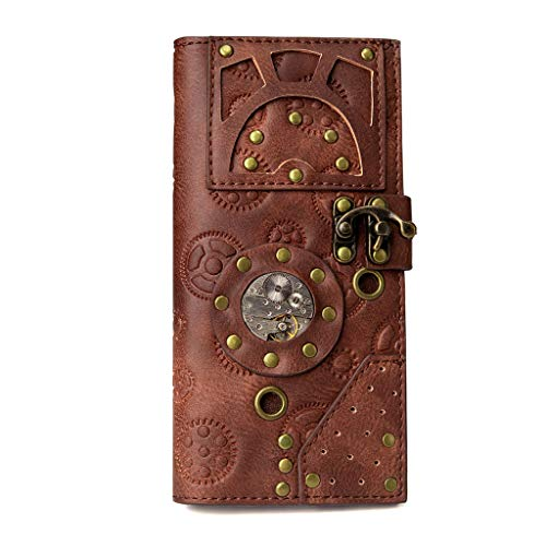 S-TROUBLE Creative Leather Retro Style Ladies Wallet Steampunk Industrial Pack Vintage Pouch Hand Bag Fashion Carrier Holster Wallet Carrying Case Clothing Accessories