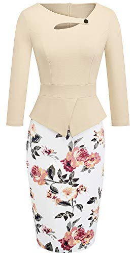HOMEYEE Women's Elegant Chic Bodycon Formal Dress B288 (10, Apricot + Floral)