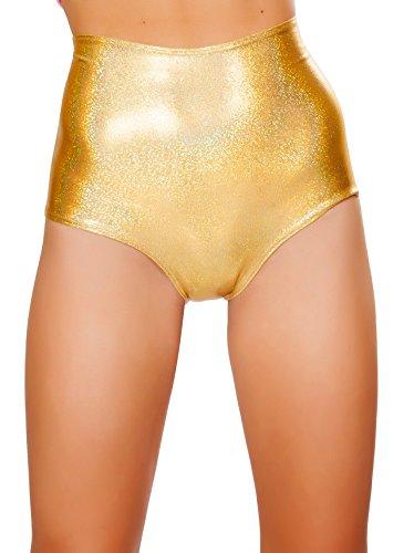 J. Valentine Women's High-Waist Short, Gold, Medium/Large