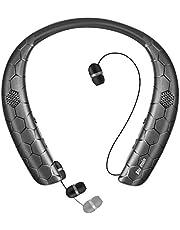 ネックスピーカー ワイヤレスイヤホン 1台2役 「Bluetooth5.0/ウェアラブル/3Dステレオ/ハンスフリー」 マイク内蔵 IPX5防水 CVC6.0ノイズキャンセリング ボイスプロント 15時間連続再生 Bluetooth ヘッドセット