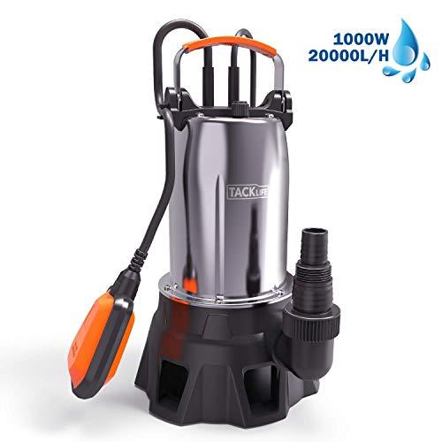 TACKLIFE Bomba Sumergible, 1000W Bombas de Aguas Sucias, Acero Inoxidable, Caudal 20000L/H,...