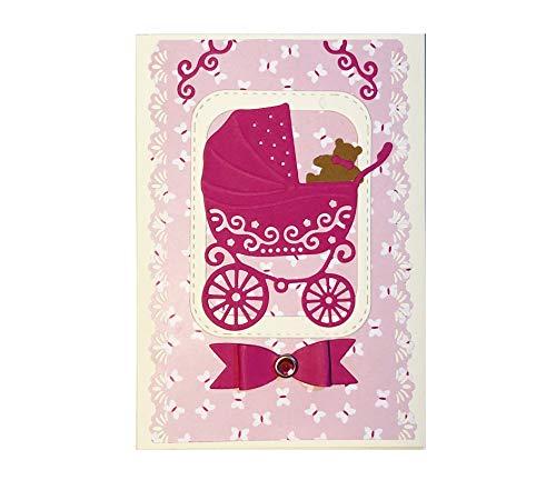 Glückwunschkarte zur Geburt von Baby mit Umschlag, Hand Made, Karte für Kind oder Eltern, Grüßkarte für Mädchen, Geburtskarte, Kindergeburtstag Postkarte, DIN A6 im Karton, ohne Text