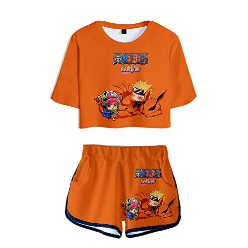 wywyet 3D Anime Naruto Frauen Sommer Pyjama Set Harajuku Kurzarm Top + Shorts Lässige Mädchen Kleidung, Xs