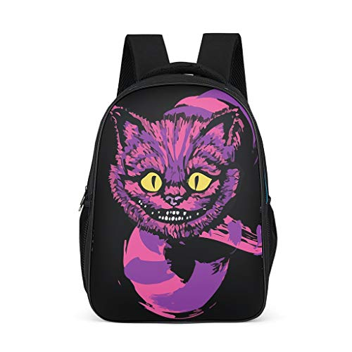 Grinning Like A Cat Cheshire Purple Backpack School Computer Rucksack Water-Resistant Travel Business Work Bag with USB Port for Men/Women Students Teenagers Unisex Casual grey onesize