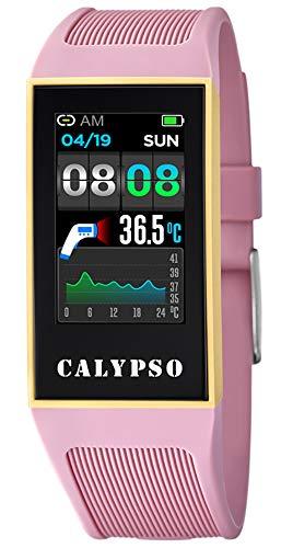 CALYPSO Reloj Modelo K8502/1 de la colección SMARTWATCH, Caja de 23,80/41,30 mm con Correa de Caucho Rosa para señora