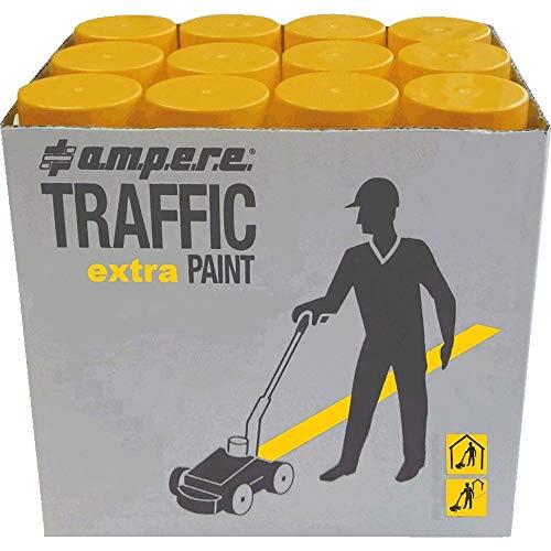 A.M.P.E.R.E 40212P010 630122000 12 Dosen Markierungsfarbe TRAFFIC Extra für extreme Belastung, Farbe: gelb