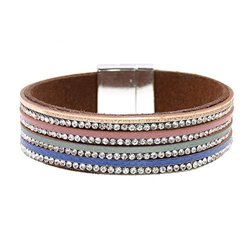 Zodiark Jewellery - Pulsera de piel con cuatro hilos de corte austríaco con banda de cristal de ante y correa de gamuza en color azul, verde, rojo y beige