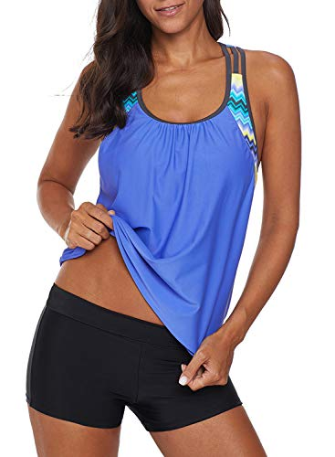 Aleumdr Women's Blouson Striped T-Back Push Up Tankini Top Halter Padded Slimming Swimsuit Sporty Swimwear Blue Plus Size X-Large 14 16
