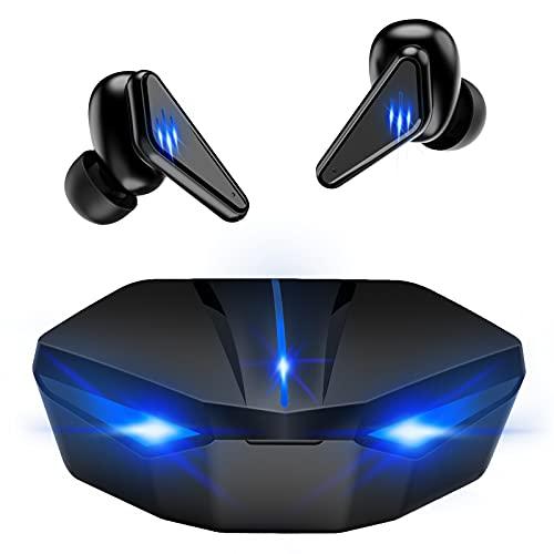 ワイヤレスイヤホン Bluetooth5.0 完全ワイヤレスイヤホン 超低遅延 マイク内蔵 ライト ノイズキャンセリング搭載 ゲーミング ブルートゥース イヤホン ゲーミング ゲームモード・音楽モード付け (ブラック); セール価格: ¥3,399
