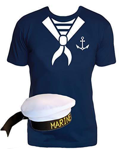Matrosen Tuch T-Shirt + Matrosenmütze Navy Gr.XL