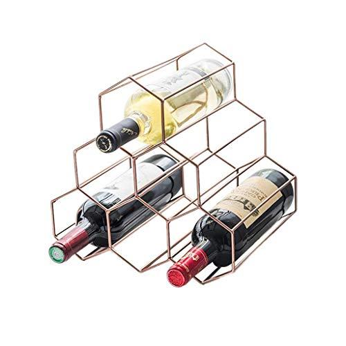 BGHDIDDDDD Novedad Estante para Vino Estante para Vino Organizador para Vino Estante para 6 Botellas Estante para Vino de Pie Libre Hexágono Estante para Vino de Diseño Moderno Gabinete de Oro Rosa p