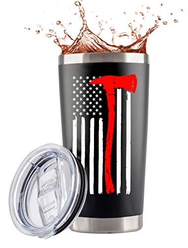 Firefighter Gifts for Men - 20 Ounce Stainless Steel Travel Tumbler/Mug with Lid for Coffee Cup| Thin Red Line Flag Design for Fireman | Fire Department | First Responder (20 Ounce) (Black, 20 Ounce)