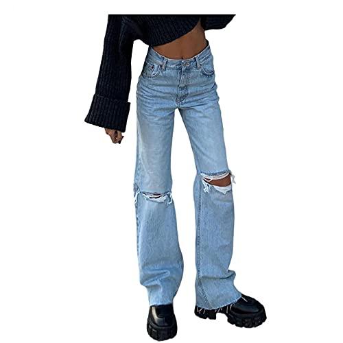 BaZhaHei Mode Damen Vintage High Waist Knopf Tasche Elastisches Loch Jeanshose Lose Locker Lang Weites Bein Hose Denim Straight Weich Pants Denimhosen mit Weitem Bein