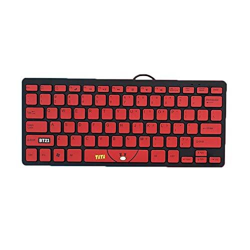 shengo Kpop BTS Kabelgebundene Business Tastatur für Windows, Linux und Chrome, USB-Anschluss, QWERTY Layout, Spritzwassergeschützt, PC/Laptop, BTS Geschenk für Army (Tata)