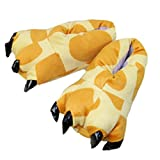 CuteOn Unisexo Suave Felpa Dibujos animados Invierno Zapatillas Cosplay Disfraz Animal Pata Garra Zapatos Jirafa Small