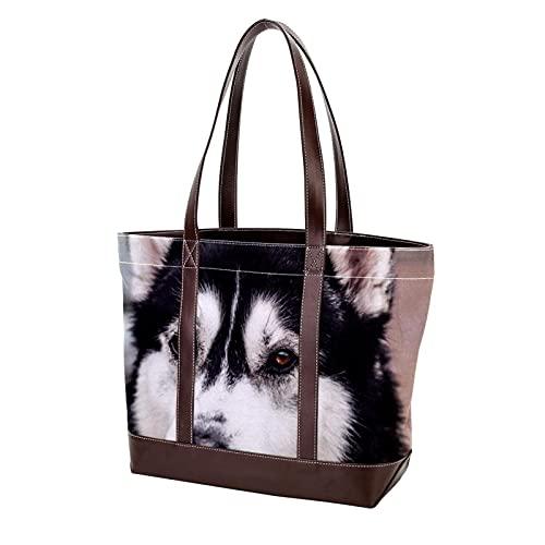 Bolsos de hombro con correa de peso ligero, negro, blanco, perro husky...