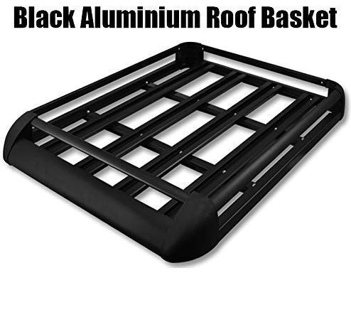Clicksuperstore Black Aluminium Roof Rack Basket Tray Luggage Cargo Carrier with Bars 3 Limited Edition (Large 55' x 39')