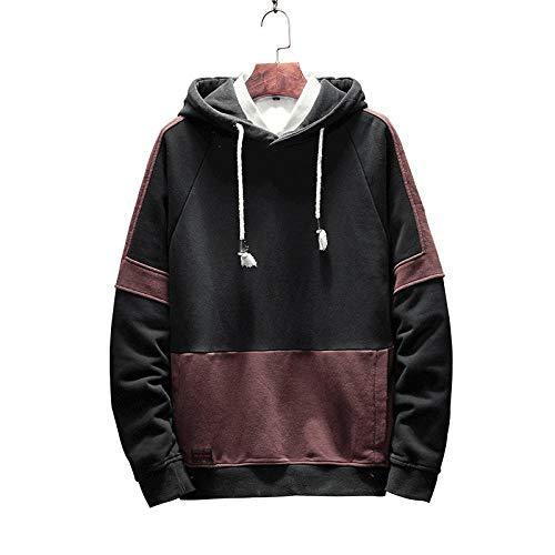 Mäntel Large Size Herren Pullover Lässig Einfache Nähte Mit Kapuze Persönlichkeit Mode Shirt Unisex S Schwarz