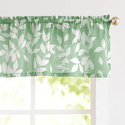 Valance Window Curtain 15' Leaf Print Kitchen Valances, Green and White, 55'w 1 Panel