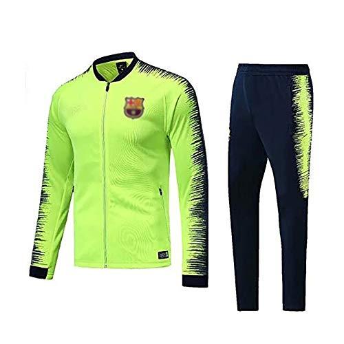 Weqenqing Ropa deportiva de manga larga de Brasil, traje de entrenamiento de fútbol, jersey con cremallera completa, traje de entrenamiento deportivo transpirable de primavera y otoño, verde fluoresce