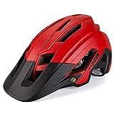 Brony Casco De Bicicleta para Adultos Resistente A Los Golpes Ligero EPS PC Sports MTB Protector De Bicicleta Hombres Mujeres Unisex J654,Rojo