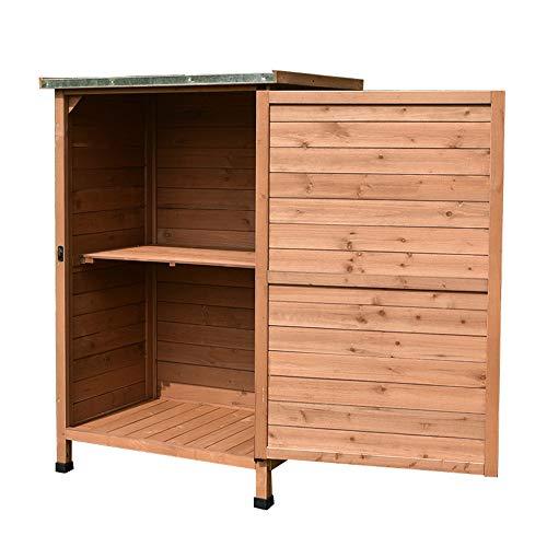 44.8in jardín al aire libre cobertizo de almacenamiento de madera, armario de almacenamiento de herramientas de doble capa de terraza armario de almacenamiento de herramientas de patio