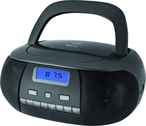 ECG CDR 500 Titan CD-Radio – CD, CD-R/RW; MP3; FM Radio; 20 Tuner-Vorwahlen; LCD-Display; Uhr (im Modus Stand-by); AUX-Eingang; Kopfhörerausgang Grau-Silber