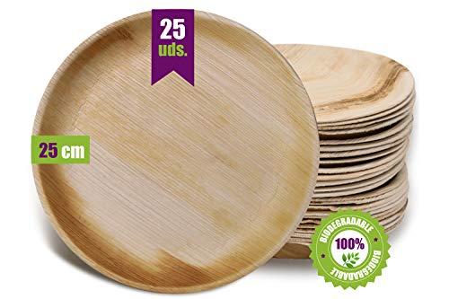 GoBeTree Plato de hoja de palma, 25 platos redondos de Ø25 cm, platos desechables ecológicos para cumpleaños,...