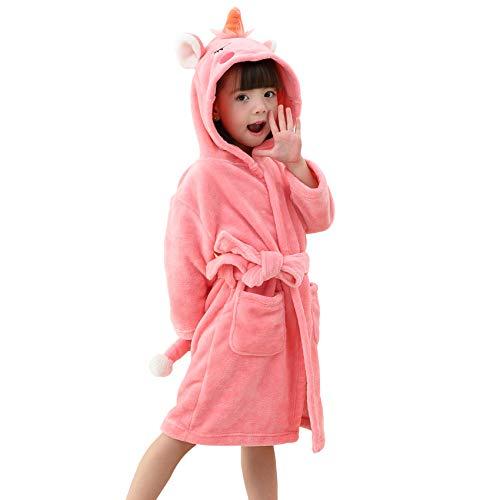 LOLANTA Kinder Einhorn Bademantel, Jungen und Mädchen Fleece Tier Bademantel mit Kapuze